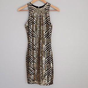 Lulu's Art Deco Gold and Black Mini Dress